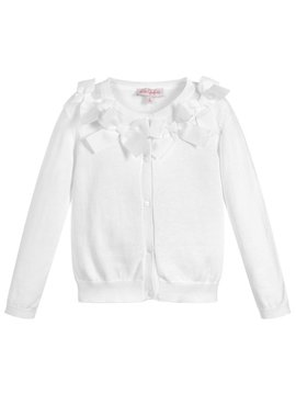 Lili Gaufrette White Cardigan with Bows
