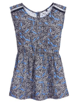 3pommes & B-Karo Blue Print Viscose Dress