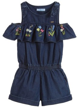 Mayoral Embroidered Ruffle Romper