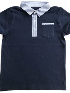 Mayoral Pinstripe Collar Navy Polo