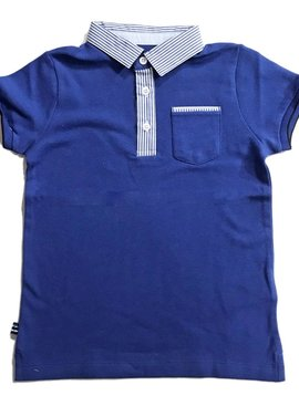 Mayoral Pinstripe Collar Royal Blue Polo