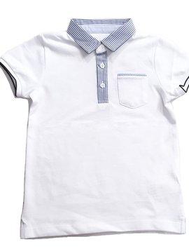 Mayoral Pinstripe Collar White Polo