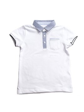 Mayoral Pinstripe Collar White Polo