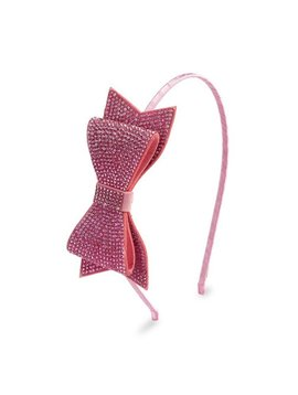 Bari Lynn Double Pink Crystal Bow Headband