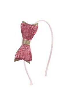 Bari Lynn Double Pink and White Crystal Bow Headband