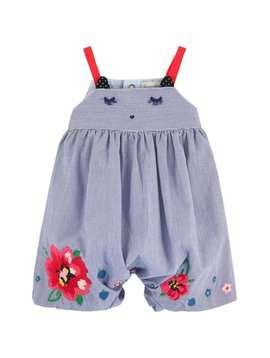 Catimini Embroidered Light Stripe Short Romper