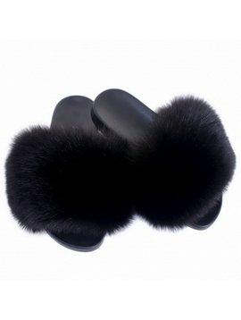 Sugar Bear Black Fox Fur Slides