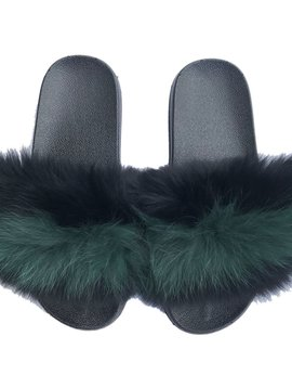 Sugar Bear Black Green Stripe Fox Fur Slides