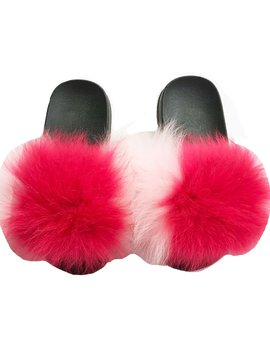 Sugar Bear Kids Fur Slide - Light Pink w Hot Pink