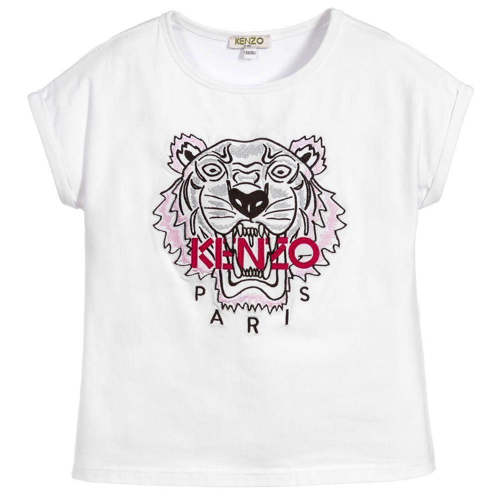 kenzo kids embroidered tiger t shirt pumpkin and bean. Black Bedroom Furniture Sets. Home Design Ideas