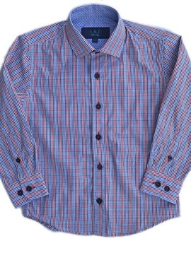 Leo & Zachary Dress Shirt - Red/ Marine Plaid