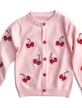 Sugar Bear Cherry Embroidered Cardigan