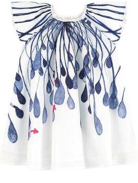 Catimini Flutter Print Dress w Pink Bow