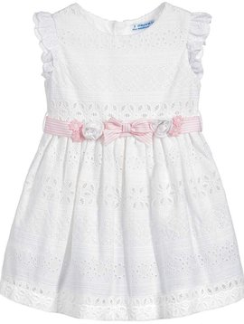 Mayoral Eyelet Dress with Ribbon Belt