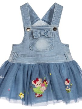 Mayoral Denim Tulle Overall Dress
