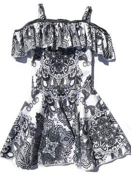 Misc Ruffle Cold Shoulder Skater Dress