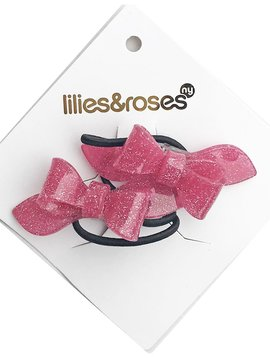 Lilies and Roses Ponytail - Bows - Vintage Pink
