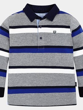 Mayoral Stripe Grey Polo - Mayoral Clothing
