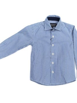 Leo & Zachary Dress Shirt - Blue Small Check - Leo and Zachary