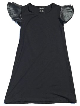 Flowers by Zoe Black Leather Ruffle Sleeve Dress - Flowers By Zoe