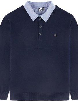 3pommes & B-Karo Navy Layered Collar Sweater - 3 pommes