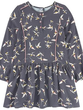 3pommes & B-Karo Grey Crepe Dress with Bird Print - 3 pommes