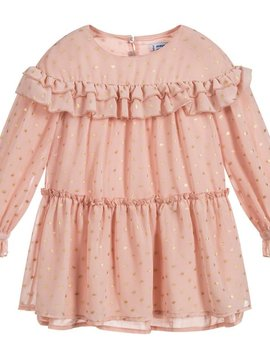 Mayoral Pink Gold Dot Chiffon Dress - Mayoral Clothing