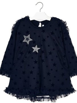 Mayoral Navy Tulle Dress with Stars - Mayoral Clothing