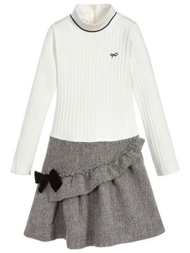 Lili Gaufrette Cotton Tweed Mix Dress with Bow - Lili Gaufrette