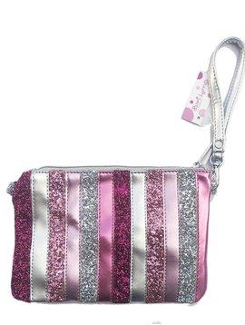 Bari Lynn Glitter Pink Stripe Clutch  - Bari Lynn Accessories