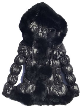 Fur Bomber & Parka Black Down Coat w Rabbit Fur - Kids Coat