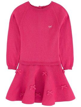 Lili Gaufrette Fuchsia Knit Dress with Bows - Lili Gaufrette