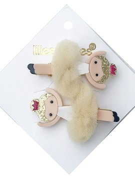 Lilies and Roses Alligator Clip - Beige Pom Ballerina - Lilies and Roses NY