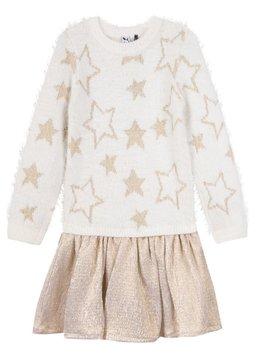 3pommes & B-Karo Cream Star Sweater Dress  - 3 pommes