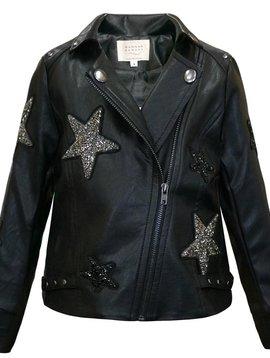 Sara Sara Star Patch Leather Jacket - Hannah Banana