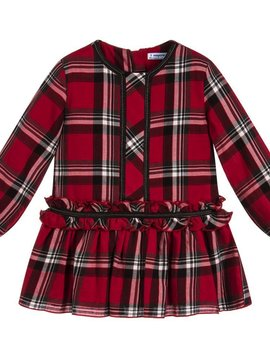 Mayoral Studded Red Plaid Dress - Mayoral Clothing