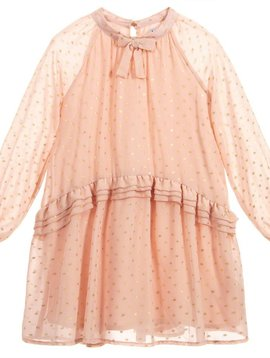 Mayoral Gold Dot Pink Chiffon Dress - Mayoral Clothing