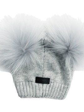 Maniere Baby Double Pom Beanie - Dusty Grey