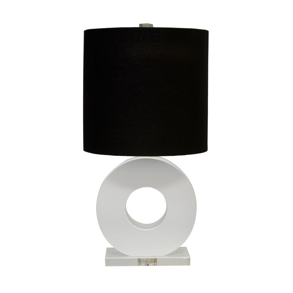 WORLDS AWAY LESLIE WHITE LACQUER AND LUCITE RING LAMP