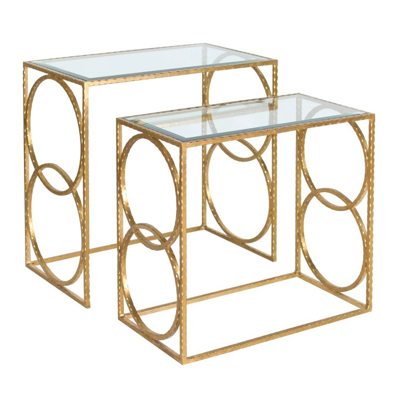 HAMMERED NESTING TABLES IN GOLD LEAF WITH BEVELED GLASS TOPS SET OF 2