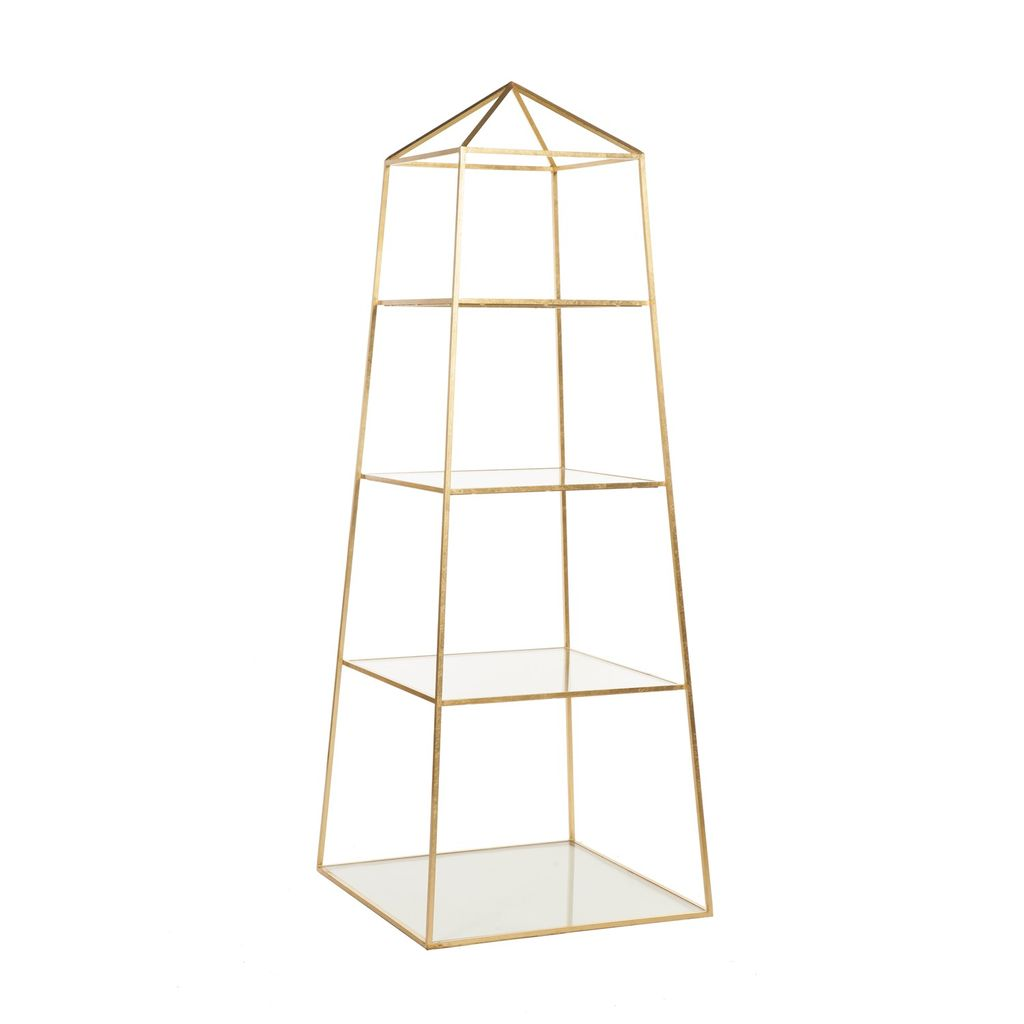 WORLDS AWAY GOLD LEAF PIPER ETAGERE