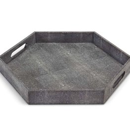 IVORY GREY SHAGREEN HEX TRAY