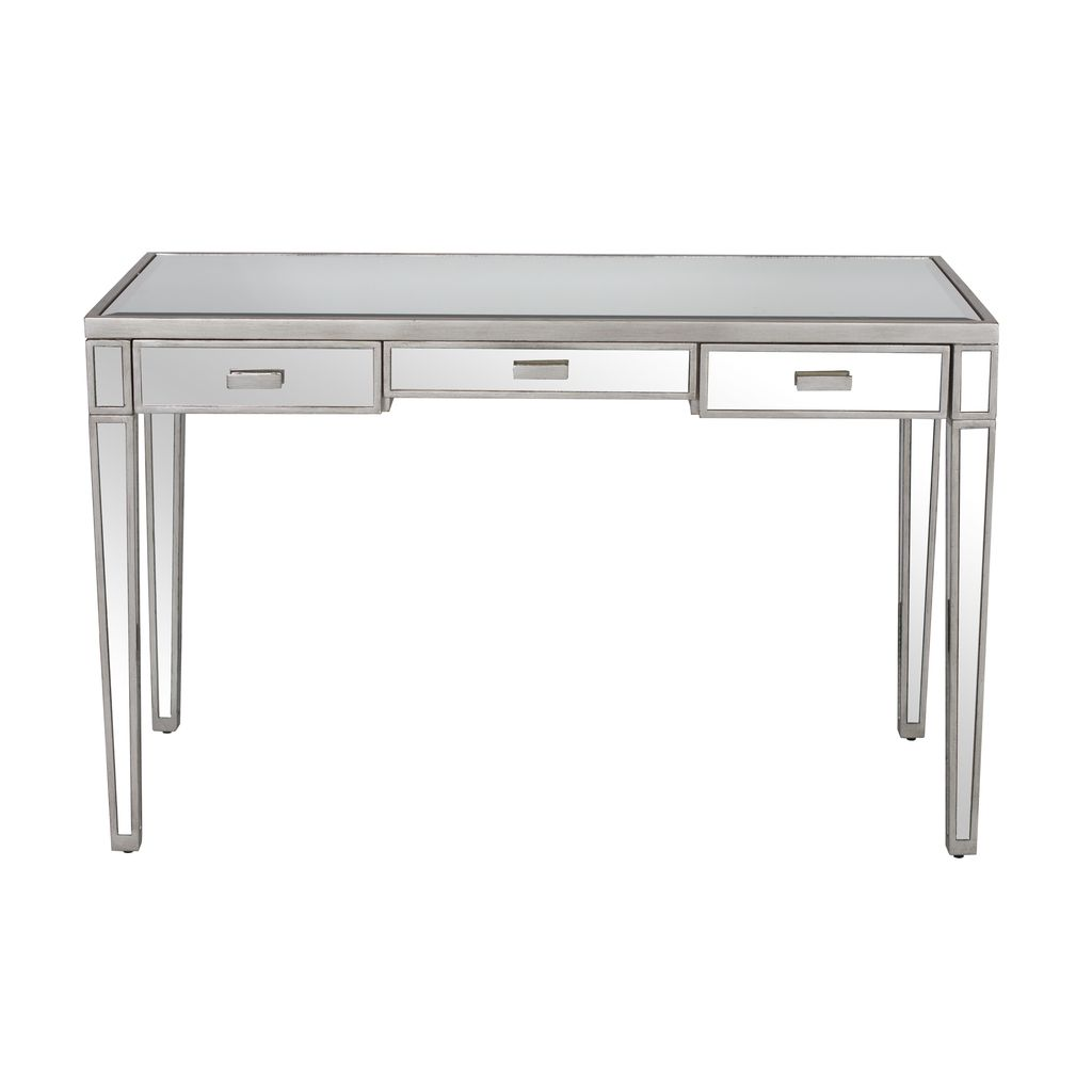 WORLDS AWAY VIVIEN SILVER MIRRORED DESK