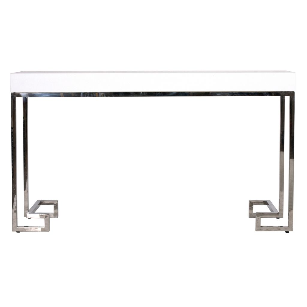 WORLDS AWAY BARSANTI WHITE LACQUER CONSOLE WITH STAINLESS GREEK KEY BASE