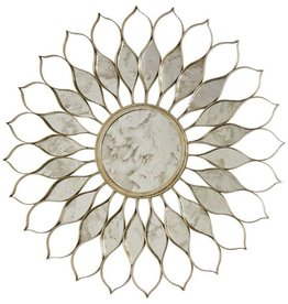 WORLDS AWAY SILVER LEAF DAISY MIRROR