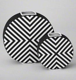 Chevron Vase-Matte Black & White