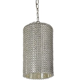 REGINA ANDREW CHAIN LINK GLASS VESSEL PENDANT- NICKEL