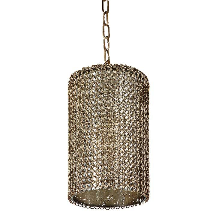 REGINA ANDREW BRASS CHAIN GLASS VESSEL PENDANT