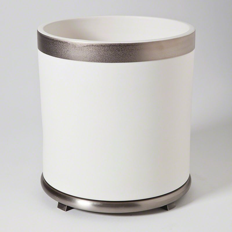 GLOBAL VIEWS SMALL ENCIRCLE VASE IN WHITE WITH PLATINUM