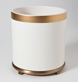 GLOBAL VIEWS SMALL ENCIRCLE VASE IN WHITE WITH GOLD